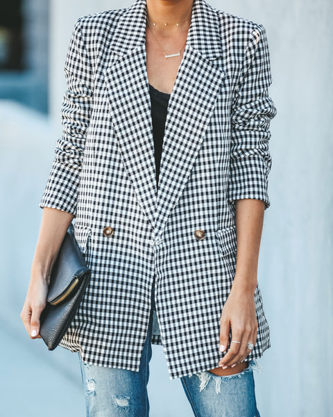 Business Casual Gingham Pocketed Blazer