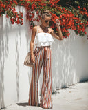 Bonnie Striped Tassel Bell Bottom Pants