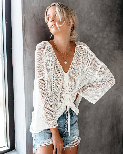 Met You In The Summer Adjustable Cinch Light Knit Top - Cream