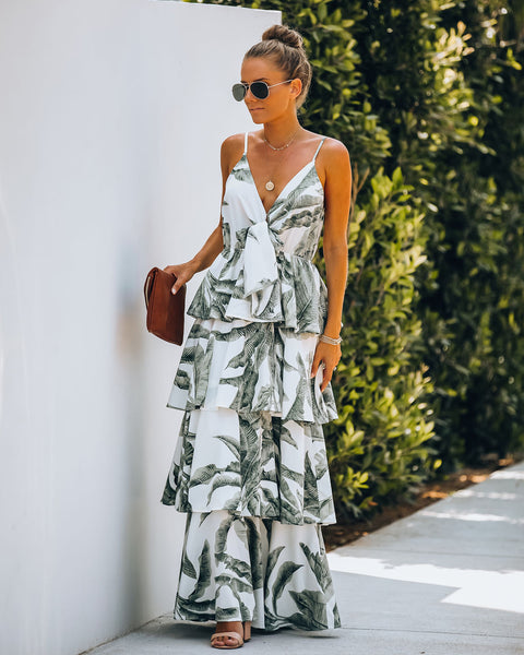 Lahaina Palm Print Tiered Maxi Dress