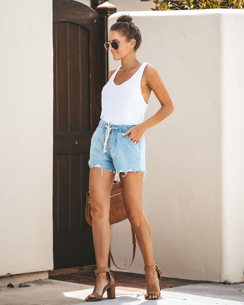 South Beach Pocketed Drawstring Denim Shorts
