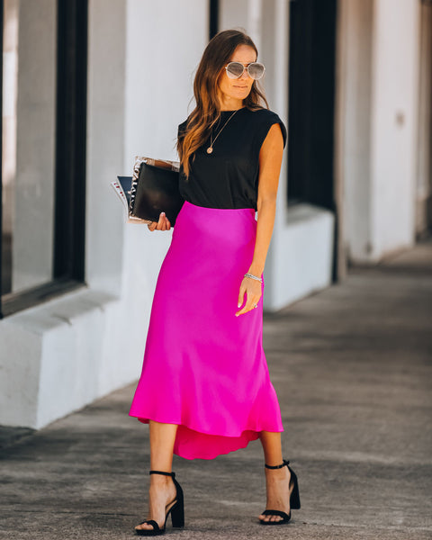In Sync Soft Crinkled High Low Skirt - Hot Pink
