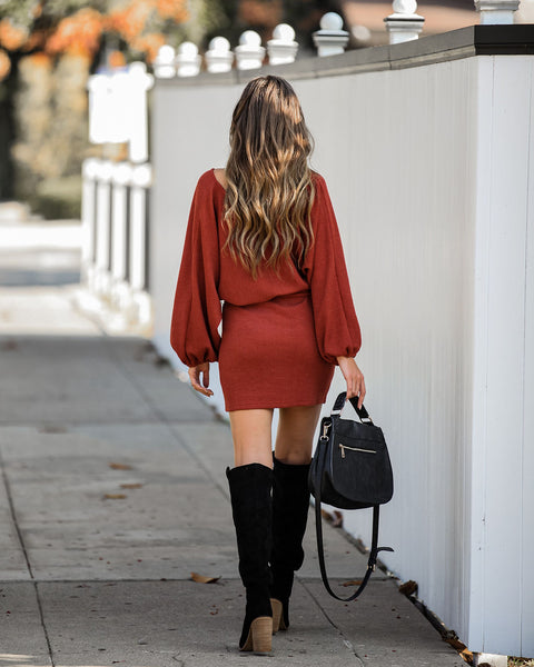 Through The Orchard Ribbed Sweater Dress - Rust - FINAL SALE