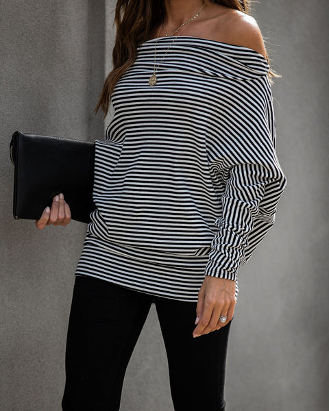 Nasir Striped Off The Shoulder Dolman Knit Top