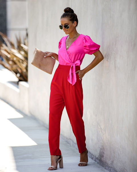 Amor Colorblock Pocketed Puff Sleeve Jumpsuit - FINAL SALE