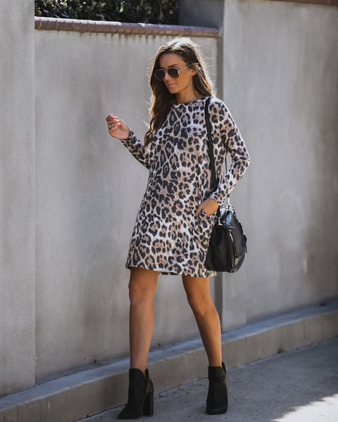 Yara Pocketed Leopard Thermal Knit Dress