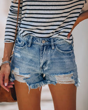 Summa Time Relaxed Cut Off Denim Shorts view 7