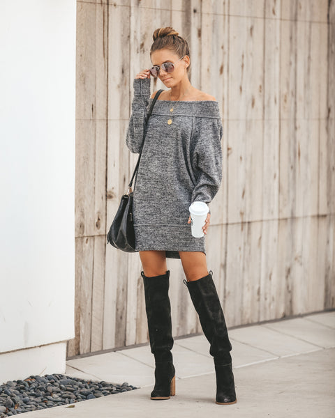 Honest To Goodness Off The Shoulder Sweater Dress