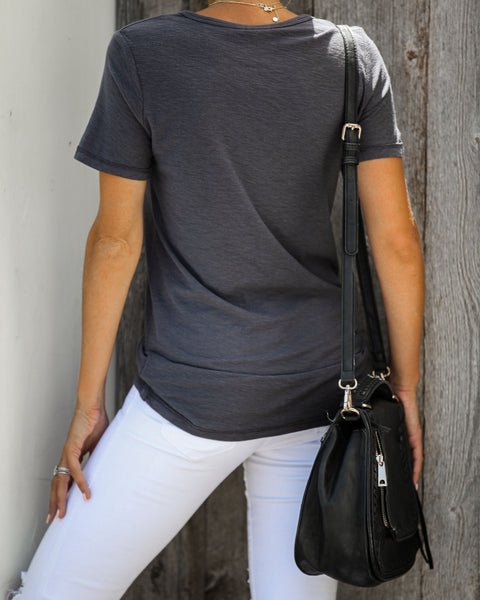 Cover The Basics V-Neck Tee - Charcoal