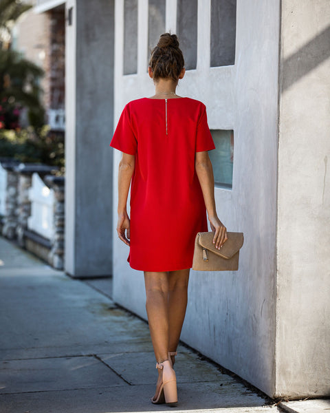 Ambitious Pocketed Short Sleeve Shift Dress - Red - FINAL SALE