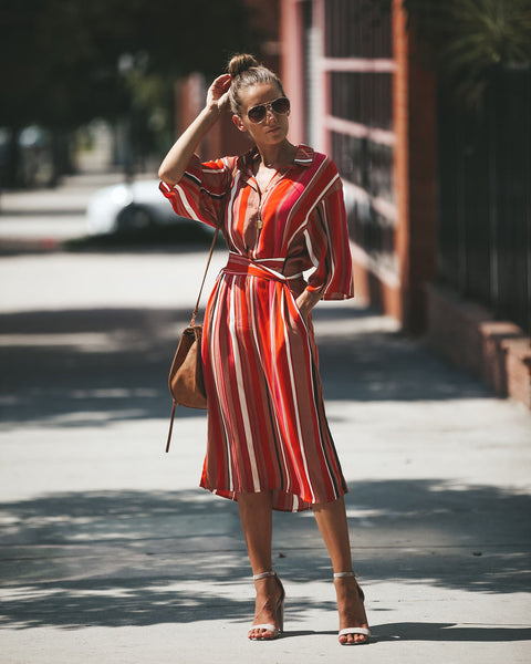 Ornery Striped Pocketed Midi Dress