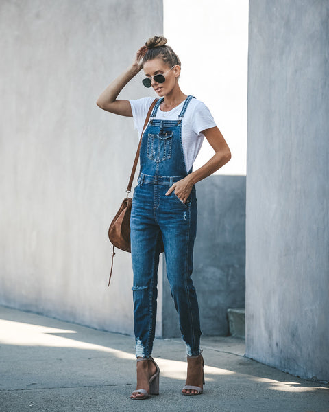 Strauss Distressed Pocketed Overalls - Dark Wash - FINAL SALE