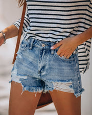 Summa Time Relaxed Cut Off Denim Shorts