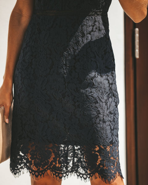 Magnificence Lace Dress - Navy