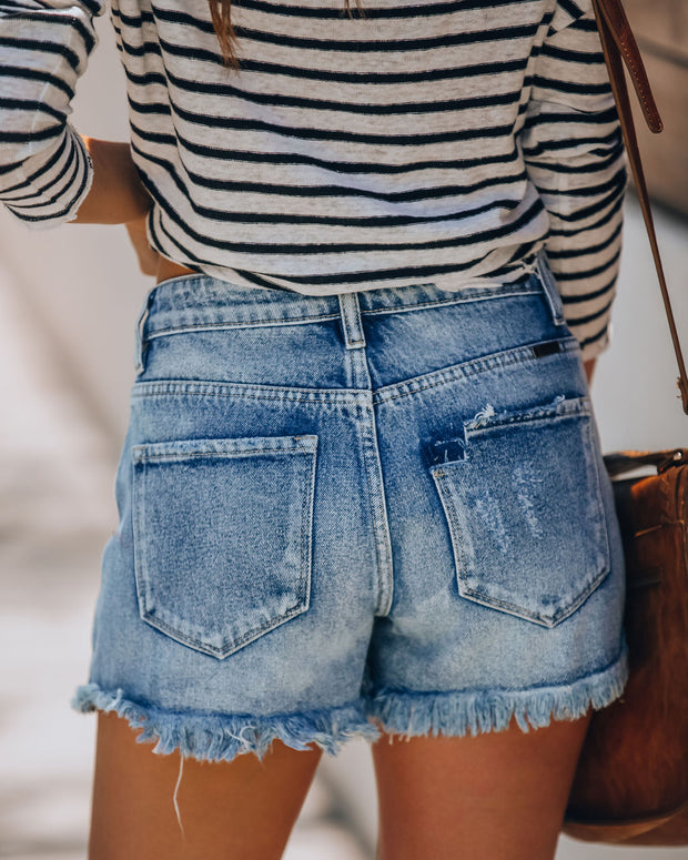 Summa Time Relaxed Cut Off Denim Shorts view 2