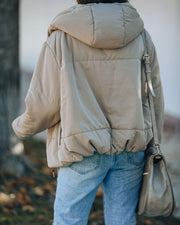 Stay Awhile Pocketed Hooded Puffer Jacket - Khaki