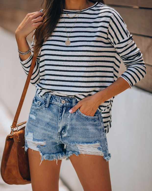 Summa Time Relaxed Cut Off Denim Shorts view 11
