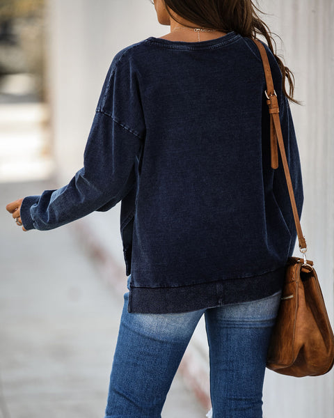Dive Deep Cotton Sweatshirt - Denim