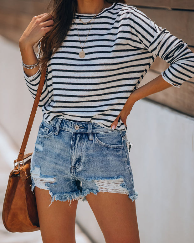 Summa Time Relaxed Cut Off Denim Shorts view 12