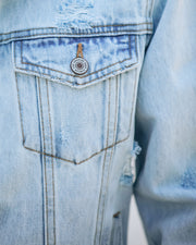 Maybell Pocketed Distressed Crop Denim Jacket view 4
