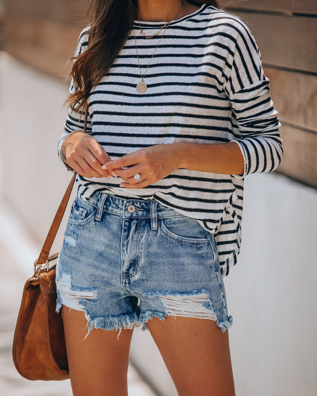 Summa Time Relaxed Cut Off Denim Shorts view 3