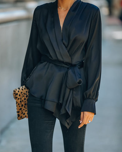 Motivation Satin Drape Wrap Blouse - Black