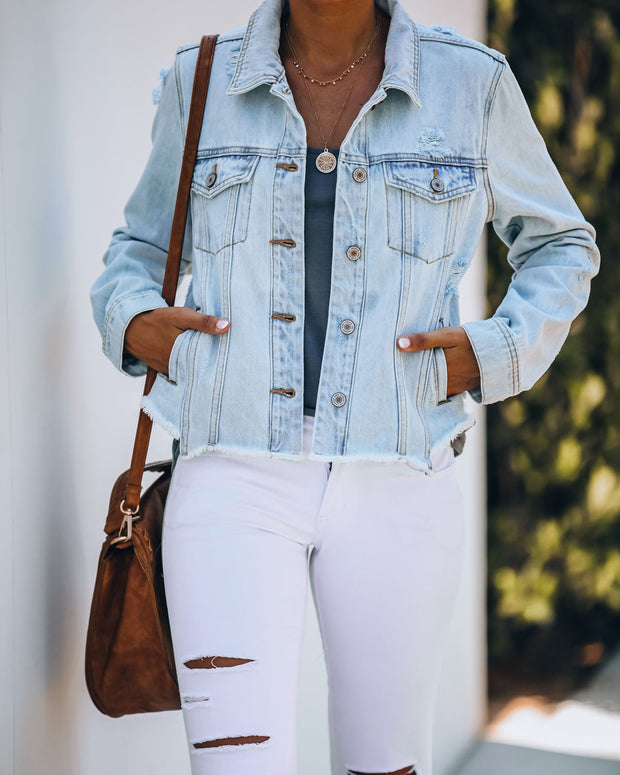 Maybell Pocketed Distressed Crop Denim Jacket