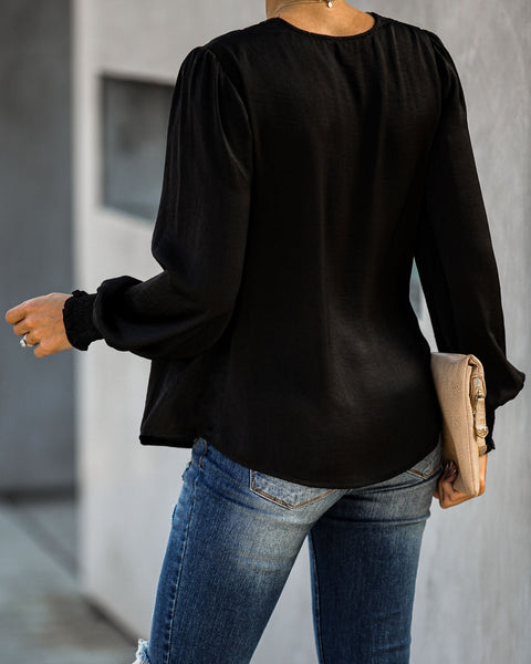 Celebration Of Love Satin Smocked Lace Blouse - Black