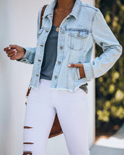 Maybell Pocketed Distressed Crop Denim Jacket view 6