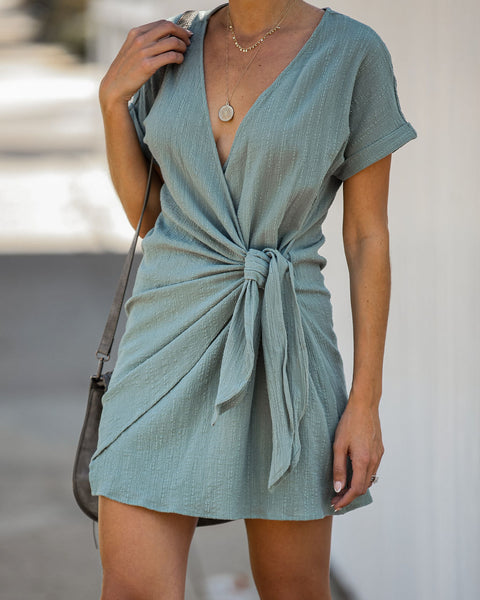 Kauai Crush Woven Wrap Dress - Sage
