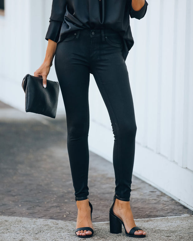 Night Out Mid Rise Coated Skinny