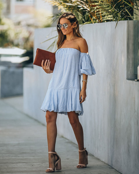 Nantucket Off The Shoulder Striped Puff Sleeve Dress