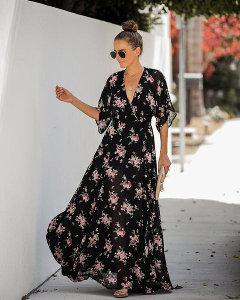Every Rose Swiss Dot Wrap Kimono Maxi Dress - FINAL SALE