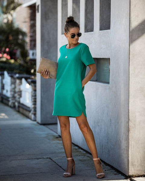 Ambitious Pocketed Short Sleeve Shift Dress - Jade