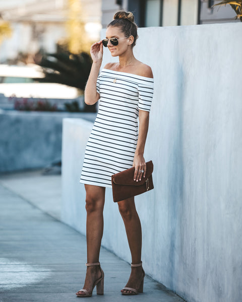 Casual Magic Off The Shoulder Striped Dress