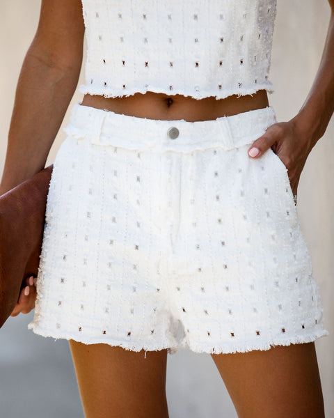 Meet Your Match Pocketed Textured Shorts - Off White
