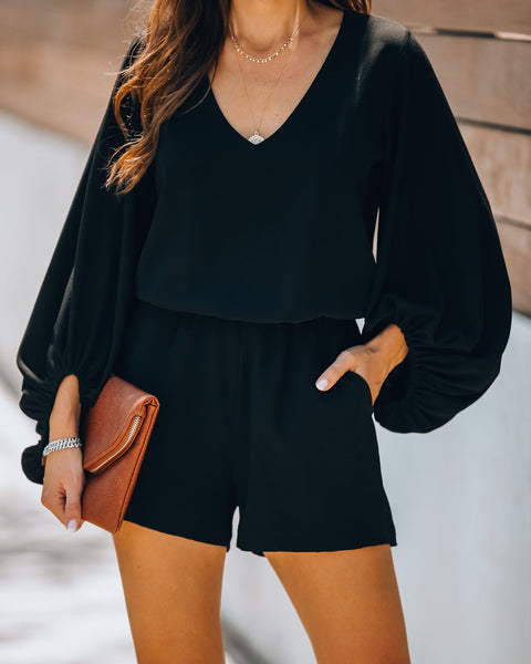 All Or Nothing Pocketed Balloon Sleeve Romper - Black - FLASH SALE