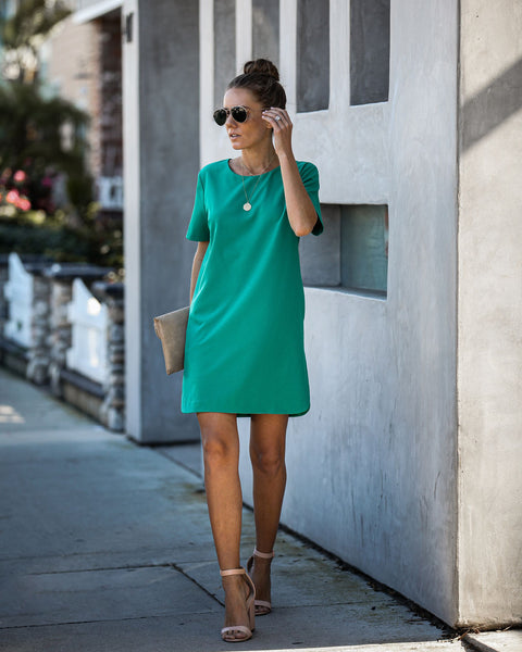 Ambitious Pocketed Short Sleeve Shift Dress - Jade - FINAL SALE