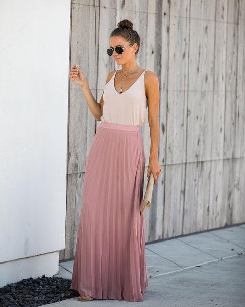 Pivotal Moments Pleated Maxi Skirt - Mauve - FINAL SALE