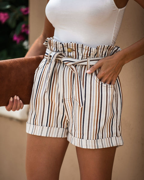 Filtered Soul Striped Pocketed Paper Bag Waist Shorts - FINAL SALE