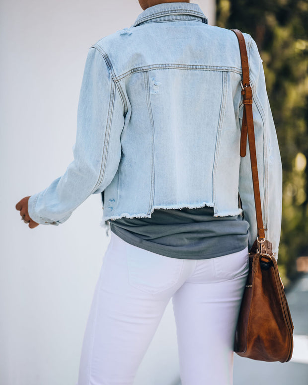 Maybell Pocketed Distressed Crop Denim Jacket view 2