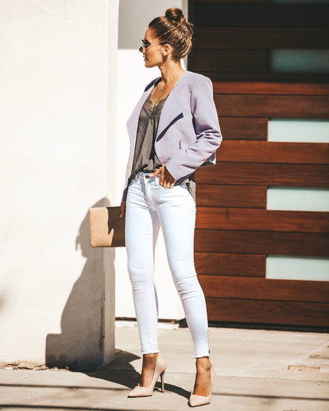 Work Hard Play Hard Pocketed Asymm Blazer - Lavender - FINAL SALE