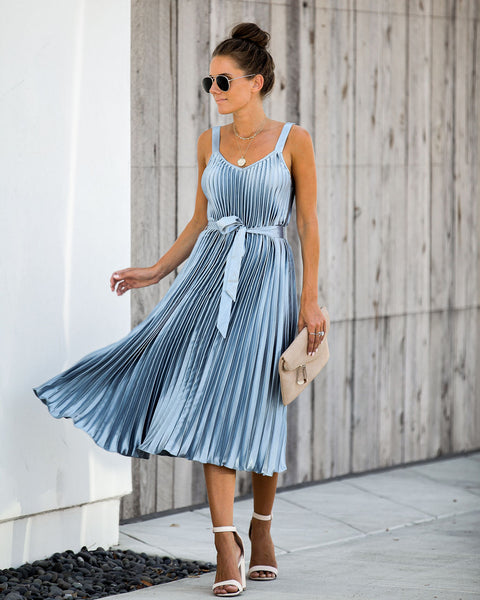 Get Your Gleam On Satin Pleated Midi Dress - Ocean - FINAL SALE