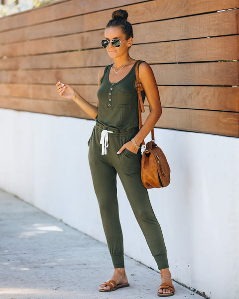 Forward Pocketed Drawstring Jumpsuit - Olive