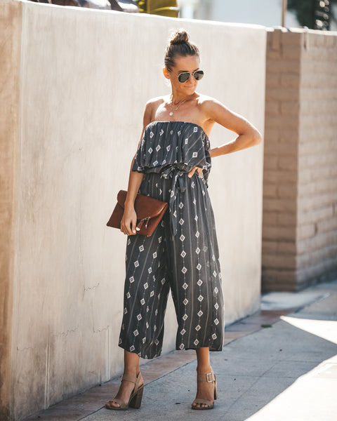 Diamonds Are Forever Strapless Midi Jumpsuit - Charcoal