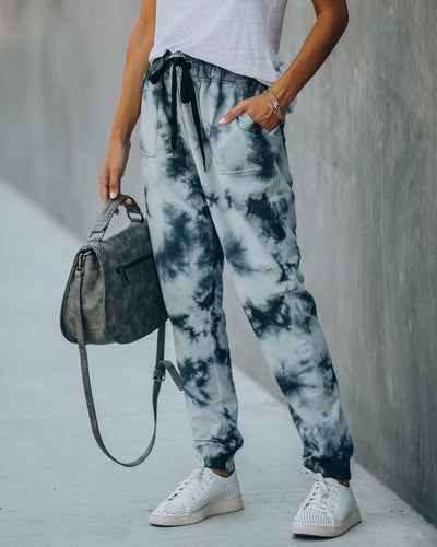 Meg Cotton Blend Pocketed Tie Dye Joggers