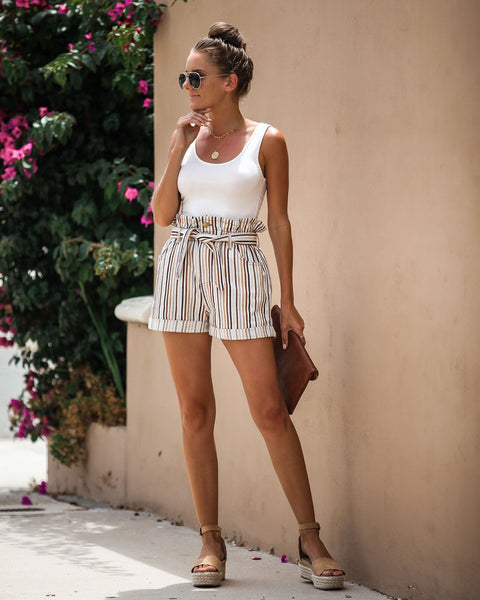 Filtered Soul Striped Pocketed Paper Bag Waist Shorts