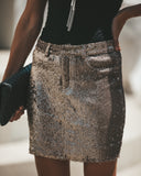 Gleaming Sequined Skirt - Gold