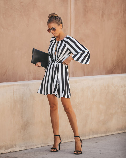 Try Your Luck Striped Twist Dress