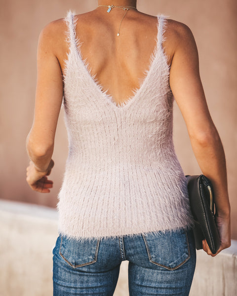Ice Age Fuzzy Shimmer Knit Tank - Dusty Lilac - FINAL SALE